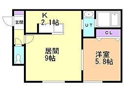 メゾン東札幌 1階1LDKの間取り