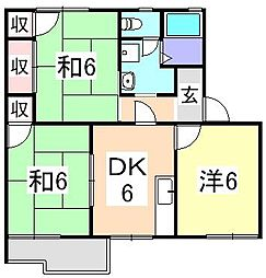 ハイツ美津野[2階]の間取り