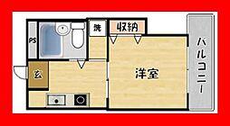 大阪府枚方市桜町の賃貸マンションの間取り