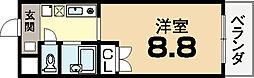 クウォンヌ城陽[2階]の間取り