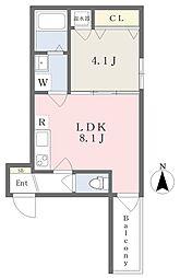 近鉄南大阪線 高見ノ里駅 徒歩3分の賃貸アパート 2階1LDKの間取り