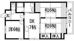 兵庫県伊丹市寺本5丁目の賃貸マンションの間取り