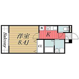 京成本線 京成成田駅 徒歩16分の賃貸マンション 3階1Kの間取り