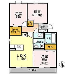 D-room Wood Bell[2階]の間取り