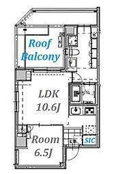ビーシティアパートメント品川ウエスト[6階]の間取り