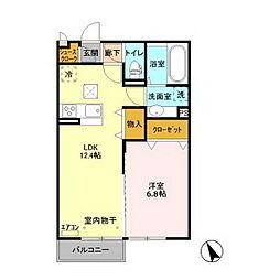 茨城県水戸市平須町の賃貸アパートの間取り
