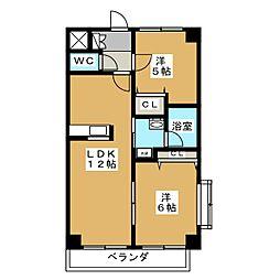 沖野マンションIII[2階]の間取り