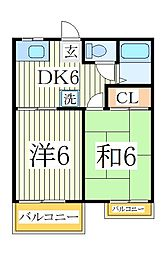 千葉県我孫子市台田3の賃貸アパートの間取り