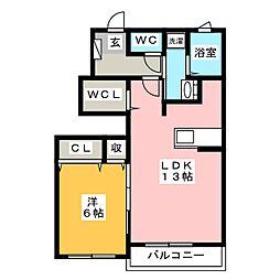 コートデイジー B[1階]の間取り