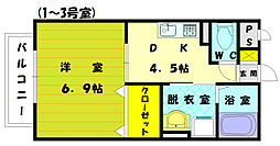 アムール駅東[2階]の間取り