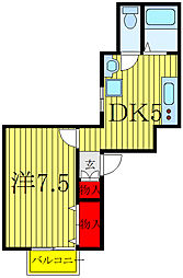 JR京浜東北・根岸線 赤羽駅 徒歩16分の賃貸アパート 2階1DKの間取り