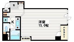 大阪府大阪市中央区博労町4-の賃貸マンションの間取り