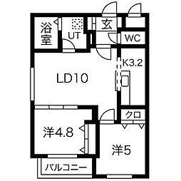 札幌市電2系統 幌南小学校前駅 徒歩2分の賃貸マンション 2階2LDKの間取り