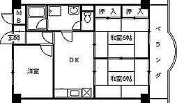 兵庫県西宮市鳴尾町2丁目の賃貸マンションの間取り