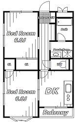 ハイカムールEY[2階]の間取り