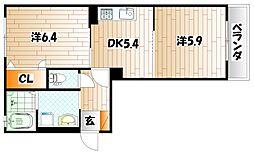 クラージュ C棟[2階]の間取り