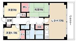 愛知県名古屋市名東区本郷3丁目の賃貸マンションの間取り