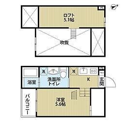 愛知県名古屋市中村区烏森町6丁目の賃貸アパートの間取り