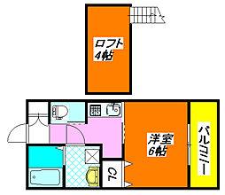 パレス・ハナテンI 202号室[2階]の間取り