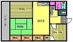 徳部マンション[3階]の間取り