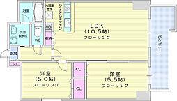 仙台市営南北線 北四番丁駅 徒歩9分の賃貸マンション 10階2LDKの間取り
