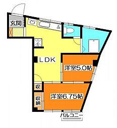 富士見マンション[5階]の間取り