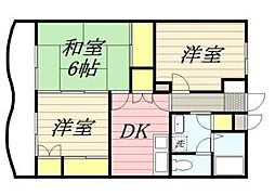 神奈川県厚木市岡田3丁目の賃貸マンションの間取り