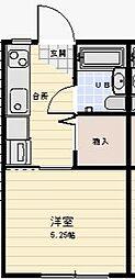 すみや広野マンスリー 205 2階ワンルームの間取り