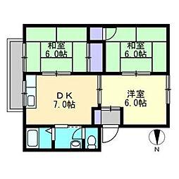 ファミリーハウス北畝[B102号室]の間取り