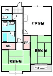 京阪本線 大和田駅 徒歩19分の賃貸マンション 3階2DKの間取り