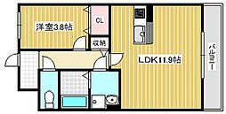 レイクキャピタル栗東 2階1LDKの間取り