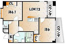 アビタシオン蒲生[3階]の間取り