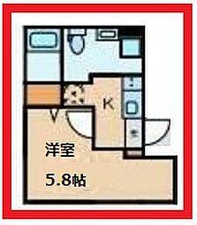 クラヴィール上野田原町 2階1Kの間取り