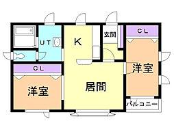フロンティア 1階2LDKの間取り