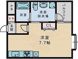 京阪交野線 宮之阪駅 徒歩5分の賃貸アパート 1階ワンルームの間取り