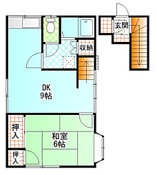 鈴木アパート(早川) 2階1DKの間取り
