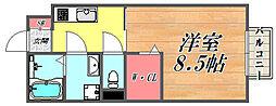 JR東海道・山陽本線 尼崎駅 徒歩13分の賃貸マンション 1階1Kの間取り
