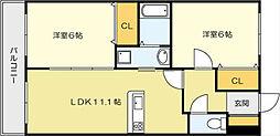 ニューシティーアパートメンツ 南小倉II[9階]の間取り