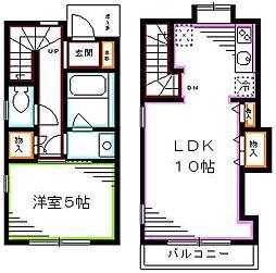 都営大江戸線 西新宿五丁目駅 徒歩5分の賃貸アパート 2階1LDKの間取り
