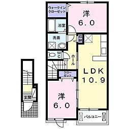 徳島県徳島市北矢三町3丁目の賃貸アパートの間取り