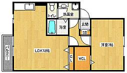 京都府京都市西京区御陵内町の賃貸アパートの間取り