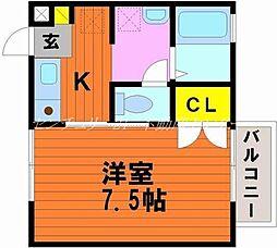 JR宇野線 宇野駅 徒歩13分の賃貸アパート 2階1Kの間取り