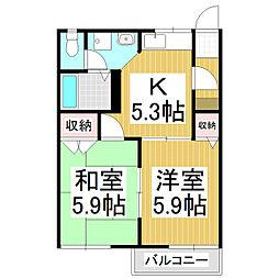 長野県諏訪市高島3丁目の賃貸アパートの間取り