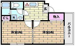 JR東海道・山陽本線 六甲道駅 徒歩12分の賃貸マンション 1階2Kの間取り