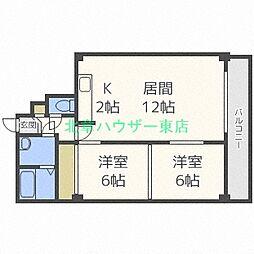 エクセレント 札幌 1階2LDKの間取り