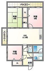 大阪府四條畷市中野新町の賃貸マンションの間取り