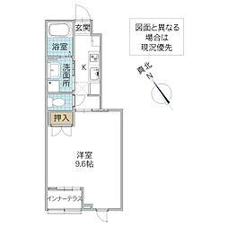 (仮)阿見町阿見新築スターテラス 1階1Kの間取り