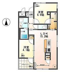 東保木間新築店舗アパート[2階]の間取り