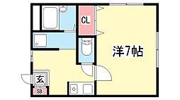 兵庫県神戸市兵庫区湊川町2丁目の賃貸アパートの間取り