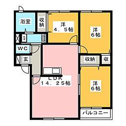 リビングタウン大野B[1階]の間取り